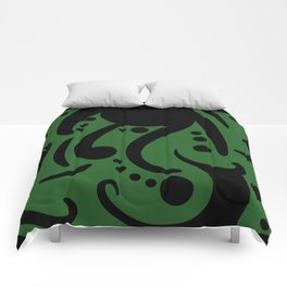 A Moderate Abstraction: Green and Black Comforters