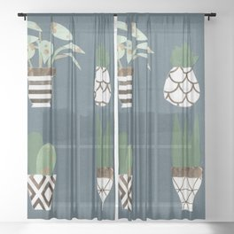 Paper Plants in Vases Sheer Curtain