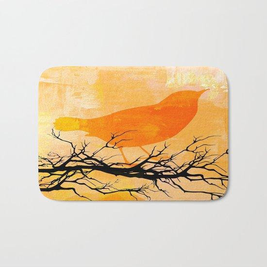 Orange Bird  Bath Mat