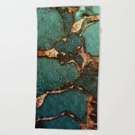 EMERALD AND GOLD Beach Towel