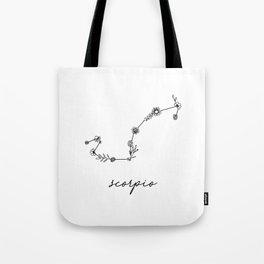 Scorpio Floral Zodiac Constellation Tote Bag