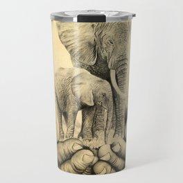 Refuge Elephants Drawing Travel Mug