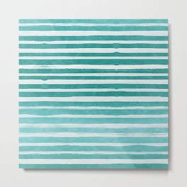 Teal Foil Stripes Metal Print