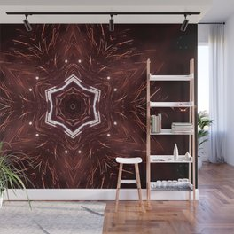 Red Fireworks Star Wall Mural