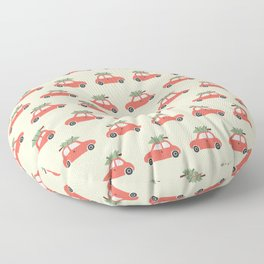 Red Vintage Christmas Cars Floor Pillow