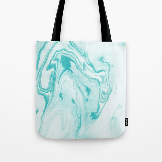 Aimi - spilled ink abstract water wave tropical vacation india ink aqua gender neutral painting boho Tote Bag
