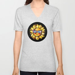 Colorful Tropical Sun with Sunglasses in Black Circle Unisex V-Neck