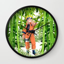 Hero anime in the bamboo forest Wall Clock