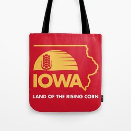 Iowa: Land of the Rising Corn - Red and Gold Edition Tote Bag