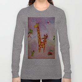 Monkey jumping on a giraffe Long Sleeve T-shirt