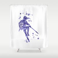 the legend of zelda Shower Curtains featuring Legend of Zelda by Carma Zoe