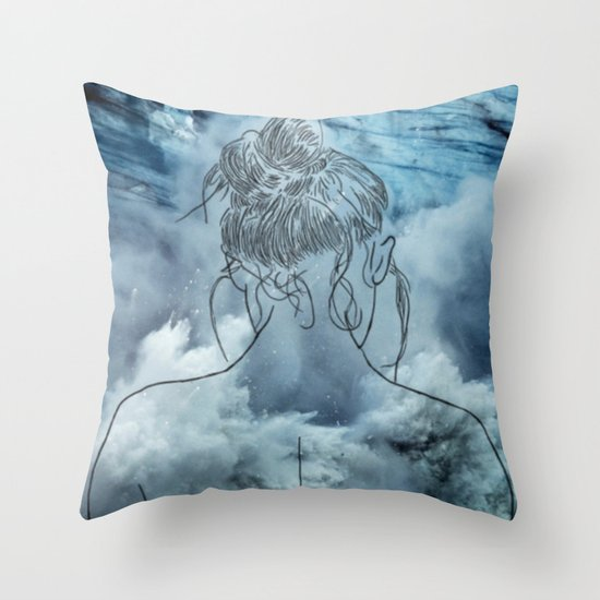 Lonely woman Throw Pillow