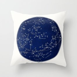 French May Star Maps in Deep Navy & Black, Astronomy, Constellation, Celestial Throw Pillow