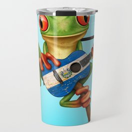 Tree Frog Playing Acoustic Guitar with Flag of El Salvador Travel Mug