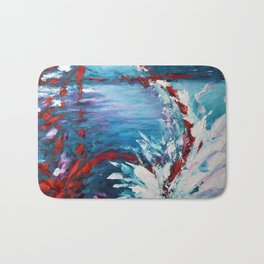 Emergence, abstract artwork, blue and white Bath Mat
