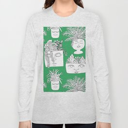 Illustrated Plant Faces in Kelly Green Long Sleeve T-shirt