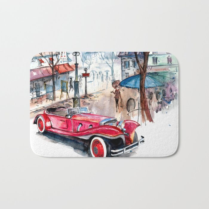 Red retro car Bath Mat