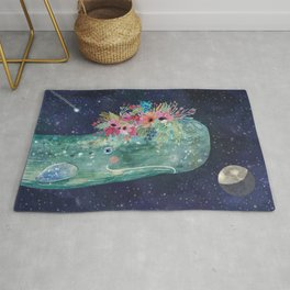 Whale with flowers Rug