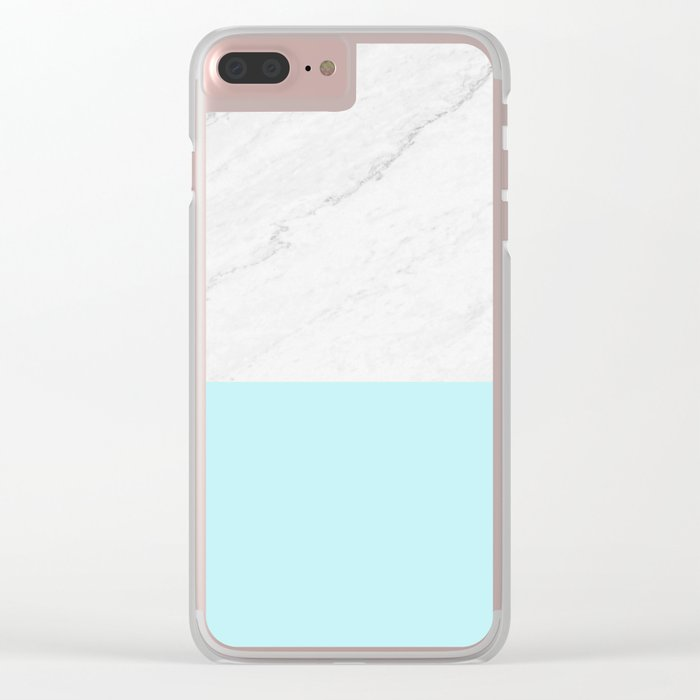 Marble And Aqua Blue Clear iPhone Case
