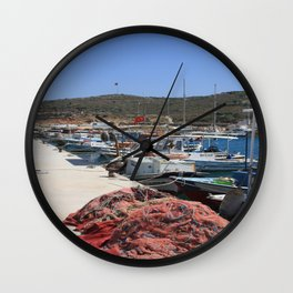 Red Fishing Net and Fishing Boats in Datca Wall Clock