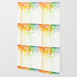 Rainbow Watercolor Pattern Texture Wallpaper
