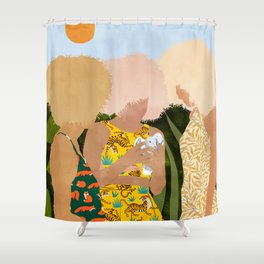 Nature Lovers #illustration #painting Shower Curtain