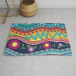 Colorful Floral Waves Rug