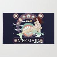 art nouveau Area & Throw Rugs featuring Art nouveau mermaid by Pendientera