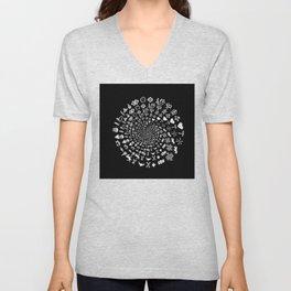 Love Symbol Mandala White on Black Unisex V-Neck