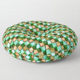 Green Teal and Tan Patchwork Floor Pillow