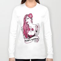 bands Long Sleeve T-shirts featuring 2014 Bands for Boobs Design by Brittany Hanks by Bands for Boobs