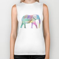 elephant Biker Tanks featuring Elephant by nessieness