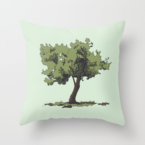 Life is Beautiful Olive Tree Throw Pillow