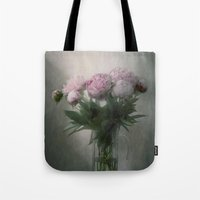 peonies Tote Bags featuring Peonies by Pauline Fowler ( Polly470 )