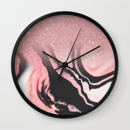 Pink Black White Glitter Painted Marble Ombre Wall Clock