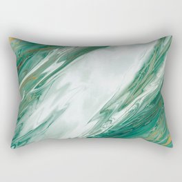 Emerald Jade Green Gold Accented Painted Marble Rectangular Pillow