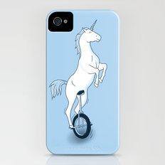 Unicorn on a unicycle - blue iPhone (4, 4s) Slim Case