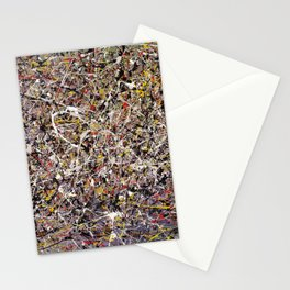 Intergalactic - Jackson Pollock style abstract painting by Rasko Stationery Cards