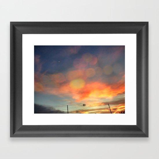 Love birds in the sunset Framed Art Print
