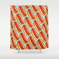 hot dog Shower Curtains featuring Hot Dog Pattern by Kelly Gilleran