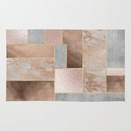 Copper and Blush Rose Gold Marble Quadrangle Geometrical Shapes Rug