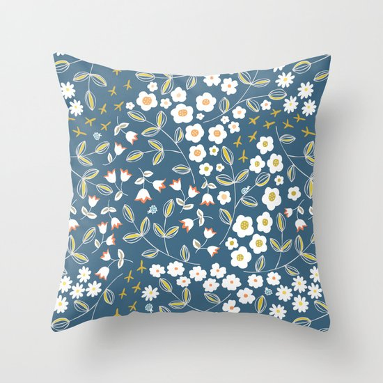 Ditsy Blue Throw Pillow