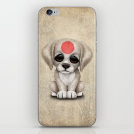 Cute Puppy Dog with flag of Japan iPhone Skin