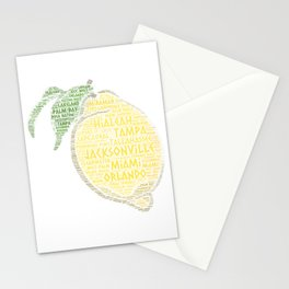 Citrus Fruit illustrated with cities of Florida State USA Stationery Cards