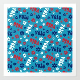 Groovy vote pattern - retro florals election pattern Art Print
