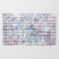 las vegas Area & Throw Rugs featuring Las Vegas map by MapMapMaps.Watercolors