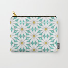 Daisy Hex - Turquoise Carry-All Pouch
