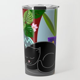 Flower pots and a black cat Travel Mug