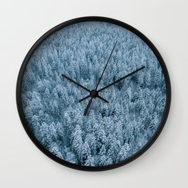 Winter pine forest aerial - Landscape Photography Wall Clock