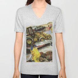 Blue whale on Second Beach, dissection with back-hoe, No. 1 - Middletown Unisex V-Neck
